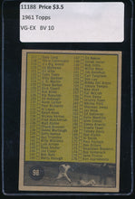 Load image into Gallery viewer, 1961 Topps  98 Checklist 2  /Yellow/98 white on black/no copyright VG-EX 11188