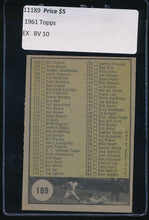 Load image into Gallery viewer, 1961 Topps  189 Checklist 3   EX 11189