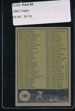 Load image into Gallery viewer, 1961 Topps  189 Checklist 3   EX-MT 11192