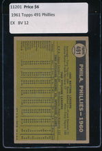 Load image into Gallery viewer, 1961 Topps  491 Philadelphia Phillies TC EX 11201