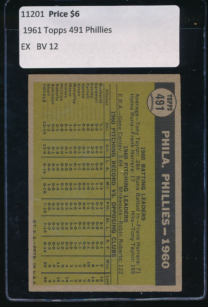 1961 Topps  491 Philadelphia Phillies TC EX 11201