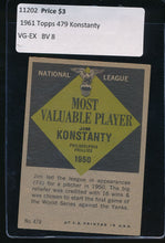 Load image into Gallery viewer, 1961 Topps  479 Jim Konstanty MVP VG-EX 11202