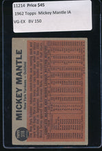 Load image into Gallery viewer, 1962 Topps  318  Mickey Mantle IA HOF VG-EX 11214