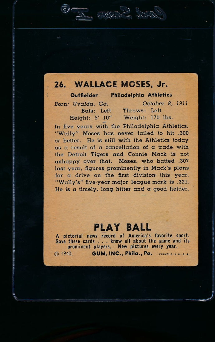 1940 Play Ball  26 Wally Moses   VG 11467