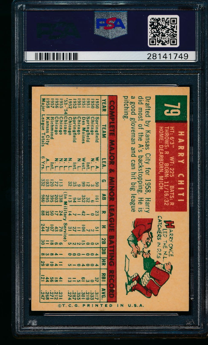 1959 Topps  79 Harry Chiti  PSA 7 NM 11508