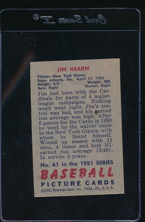1951 Bowman  61  Jim Hearn   VG 11852