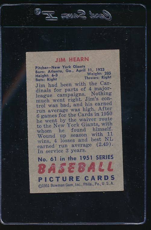 1951 Bowman  61  Jim Hearn   VG 11854
