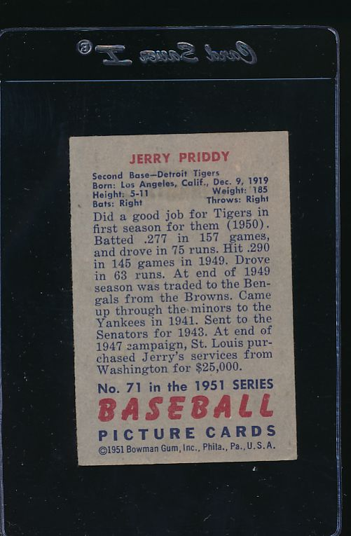 1951 Bowman  71 Jerry Priddy  VG-EX 11980
