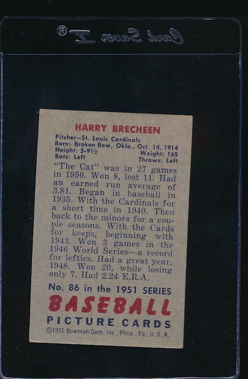 1951 Bowman  86 Harry Brecheen  EX 11991