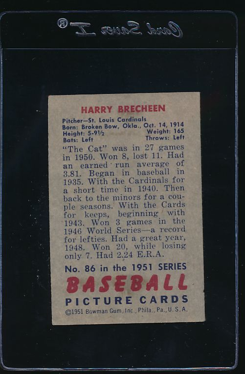 1951 Bowman  86 Harry Brecheen  EX 11992