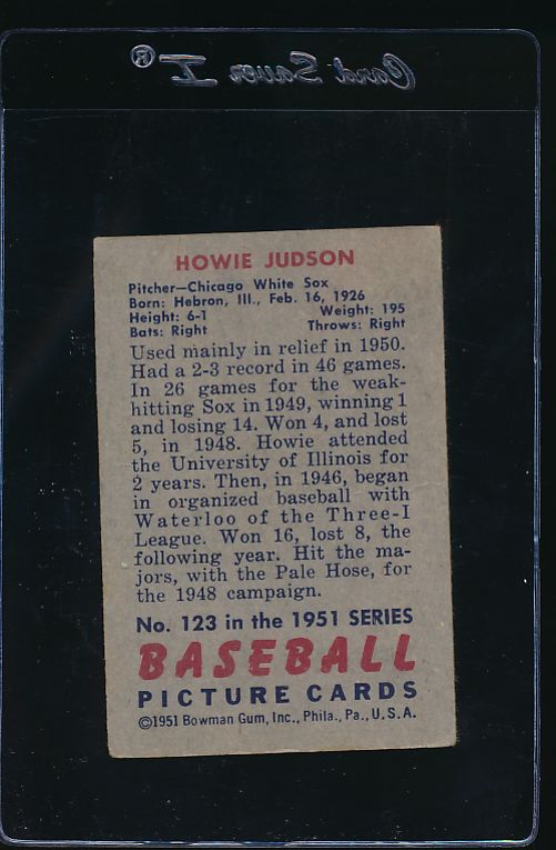 1951 Bowman  123 Howie Judson  VG 12045