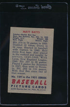 Load image into Gallery viewer, 1951 Bowman  129 Matt Batts  VG-EX 12074