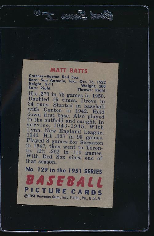 1951 Bowman  129 Matt Batts  VG-EX 12074