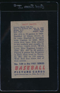 1951 Bowman  129 Matt Batts  G 12076