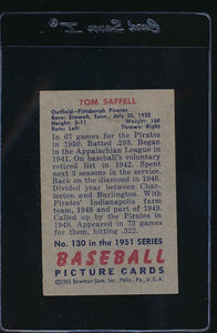 1951 Bowman  130 Tom Saffell  EX 12082