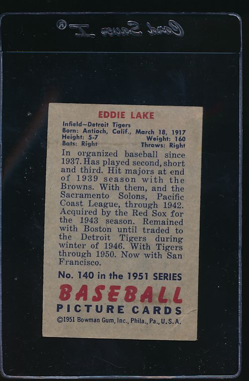 1951 Bowman  140 Eddie Lake  G 12100