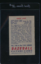 Load image into Gallery viewer, 1951 Bowman  140 Eddie Lake  G/VG 12101