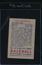 Load image into Gallery viewer, 1951 Bowman  141 Fred Hutchinson  G 12103
