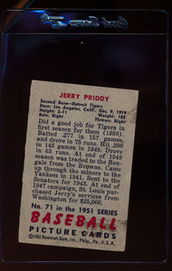 1951 Bowman  71 Jerry Priddy   VG 12304