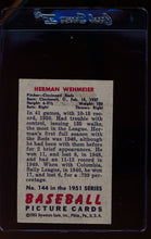 Load image into Gallery viewer, 1951 Bowman  144 Herman Wehmeier   EX-MT 12318