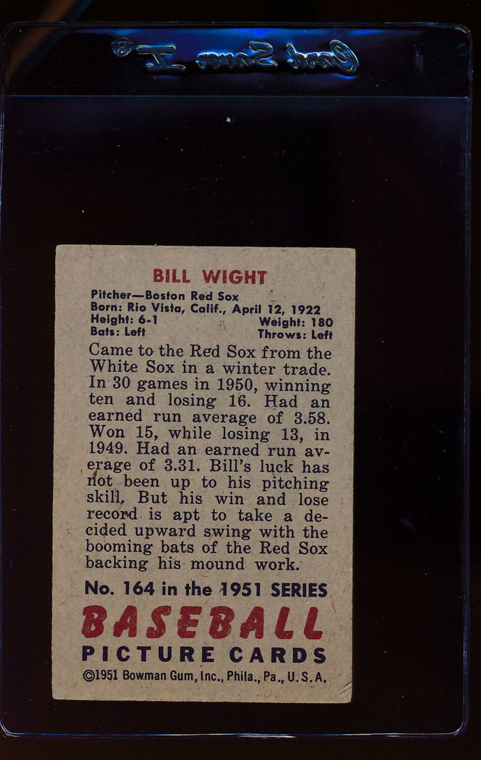 1951 Bowman  164 Bill Wight   VG 12323