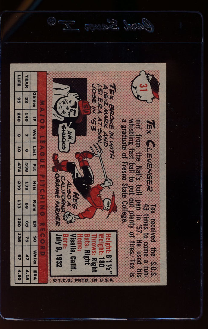 1958 Topps  31 Tex Clevenger  EX 12399