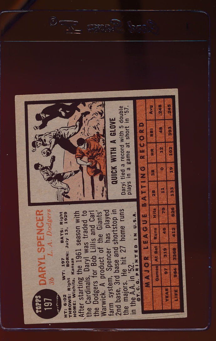 1962 Topps  197 Daryl Spencer  EX-MT 12510