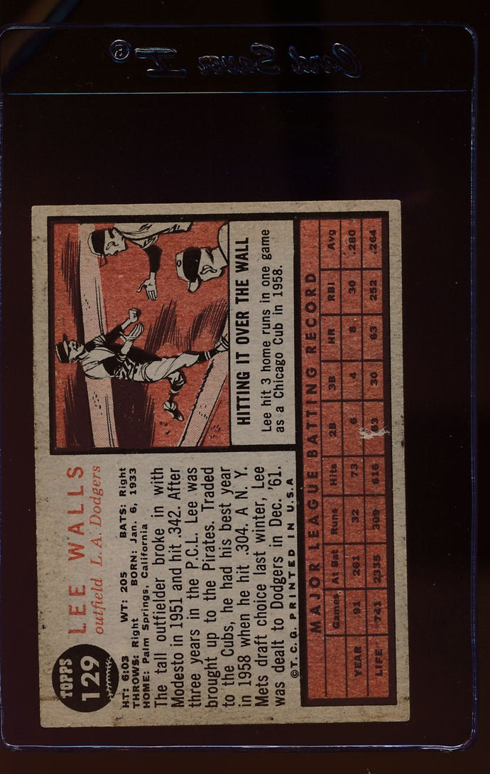 1962 Topps  129A Lee Walls/Plain Jersey, facing right  EX 12515