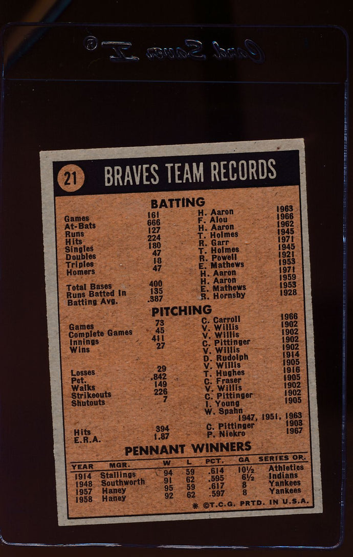 1972 Topps  21 Atlanta Braves TC  EX 12550