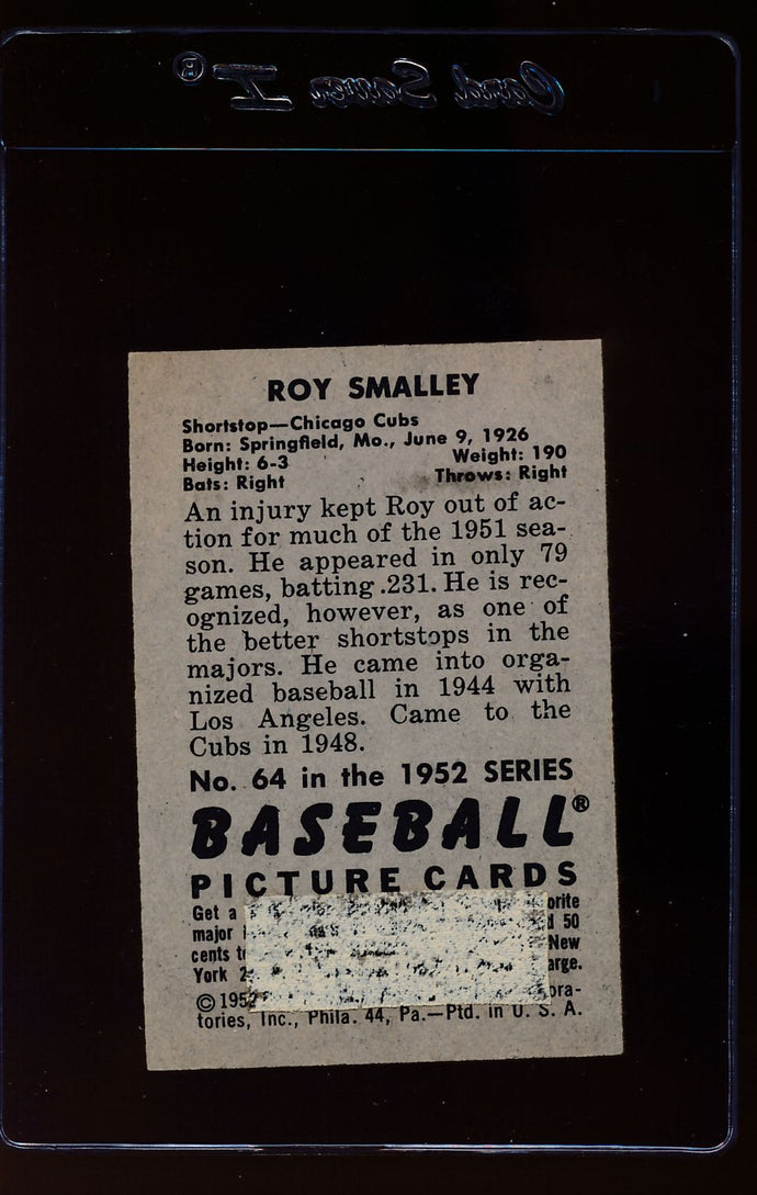1952 Bowman  64 Roy Smalley  P 12627