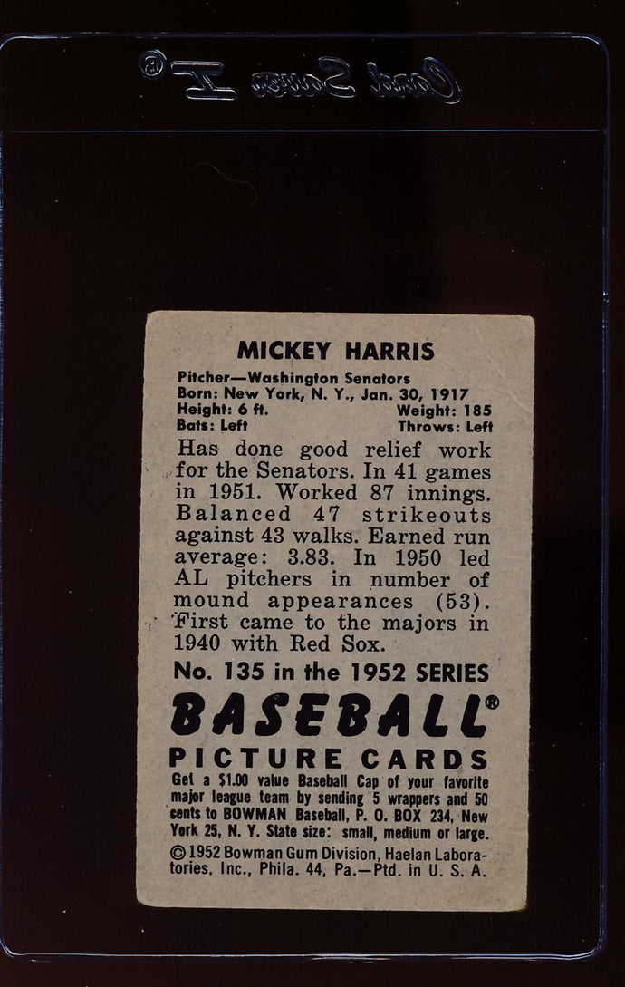 1952 Bowman  135 Mickey Harris  G 12649