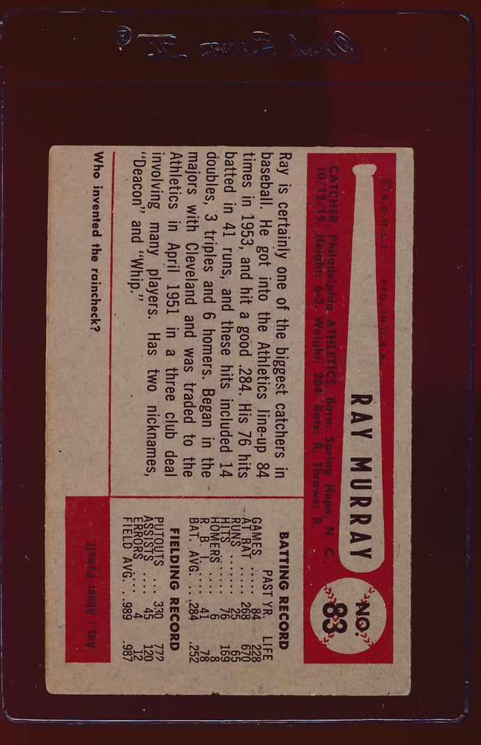 1954 Bowman  83 Ray Murray  VG 12727