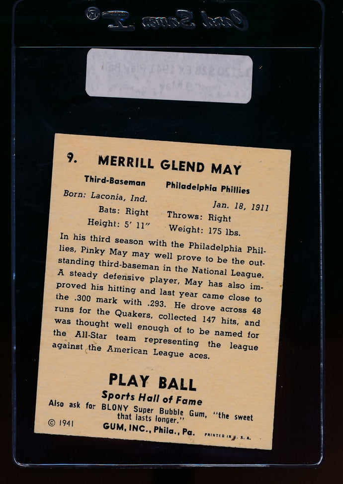 1941 Play Ball  9 Pinky May  EX 13120