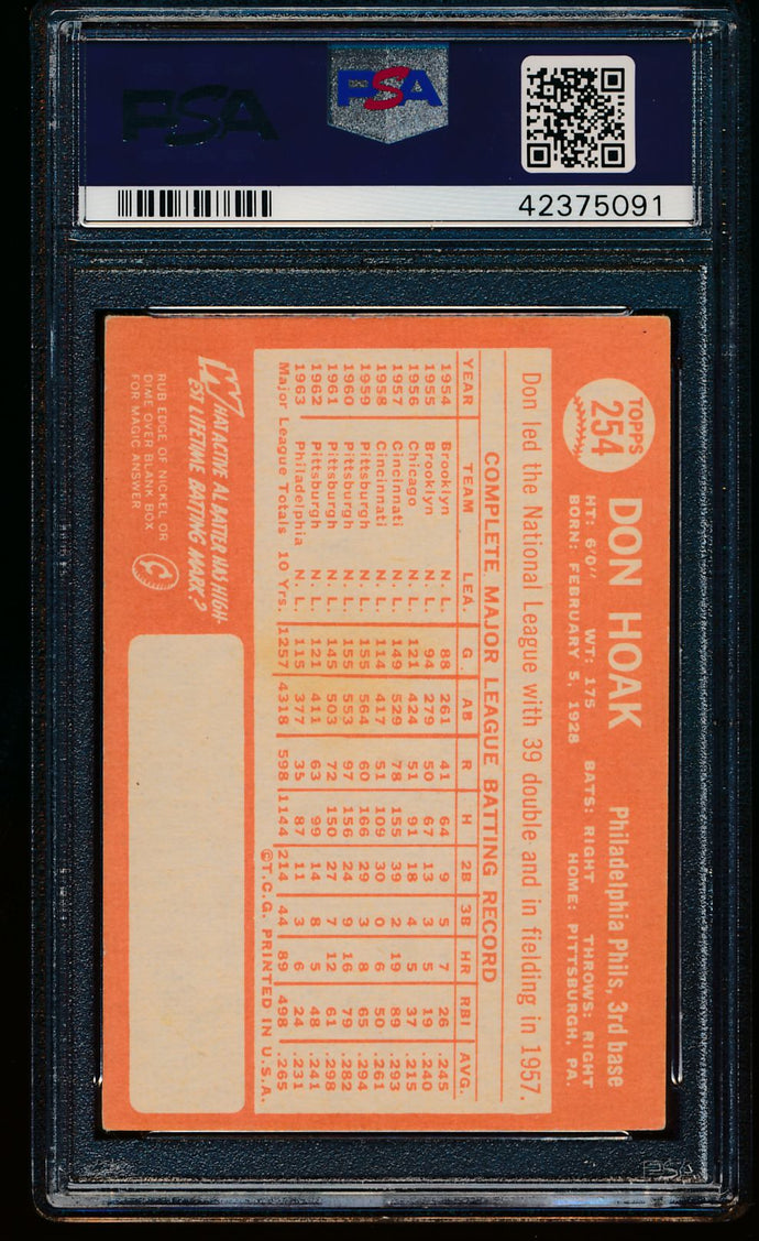 1964 Topps  254 Don Hoak Auto PSA/DNA Authentic 13277