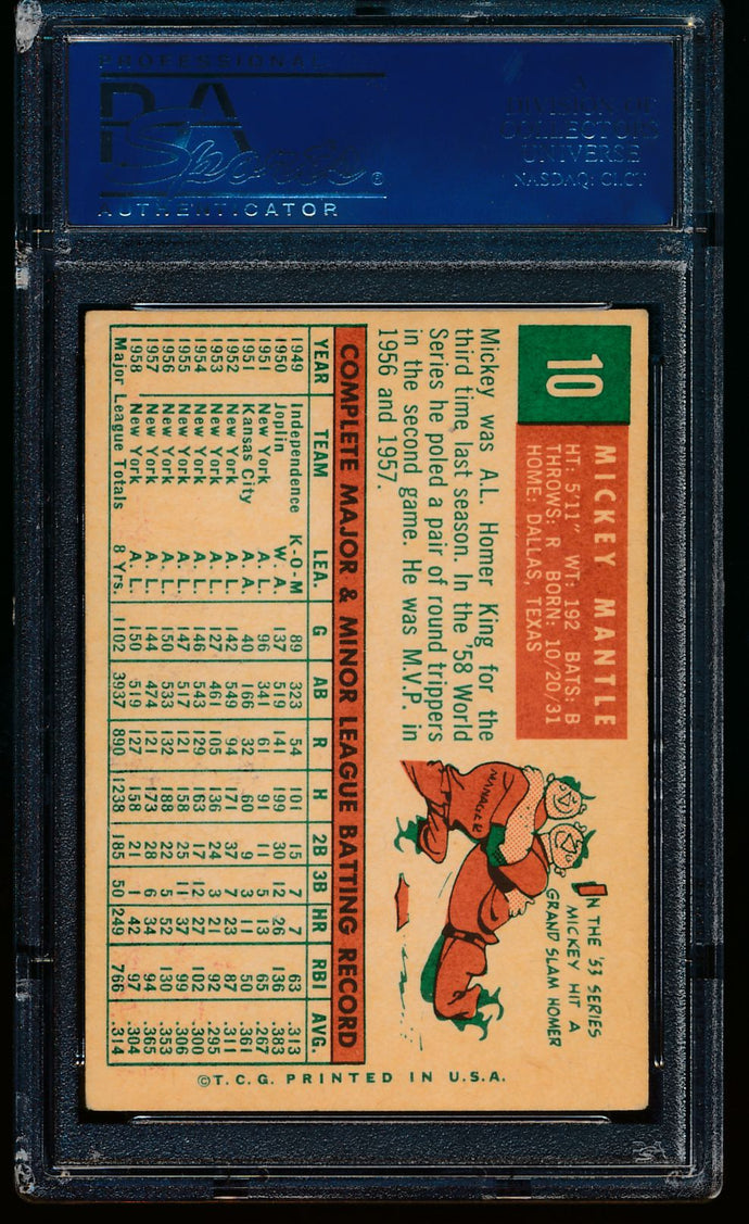 1959 Topps  10 Mickey Mantle  PSA 4.5 VG-EX+ 13284