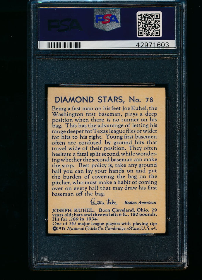 1935 Diamond Stars  78 Joe Kuhel Blue Back PSA 6 EX-MT 13434