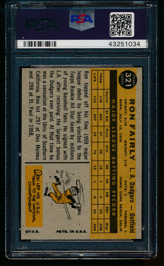1960 Topps  321 Ron Fairly  PSA 8 NM-MT 13476