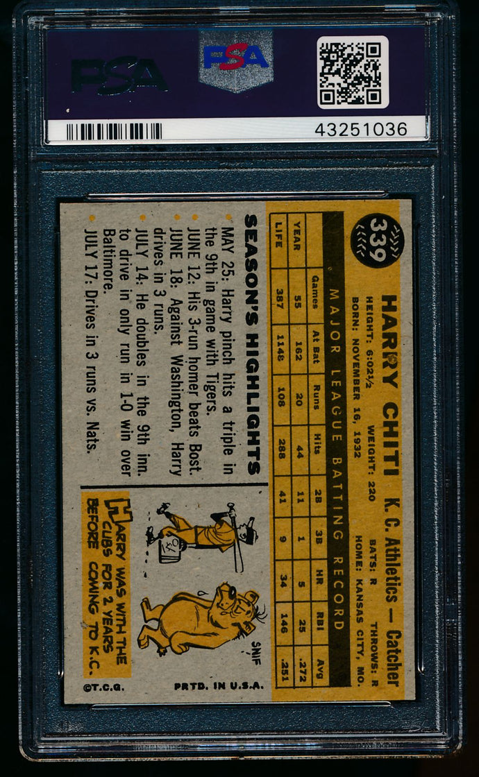 1960 Topps  339 Harry Chiti  PSA 8 NM-MT 13477