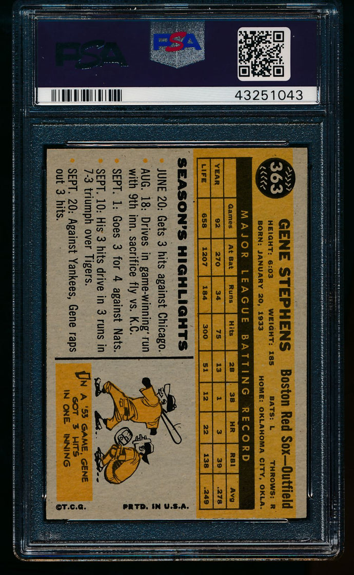 1960 Topps  363 Gene Stephens  PSA 8 NM-MT 13478