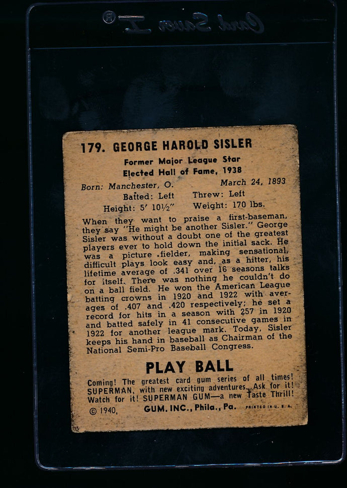 1940 Play Ball  179 George Sisler  P 13643