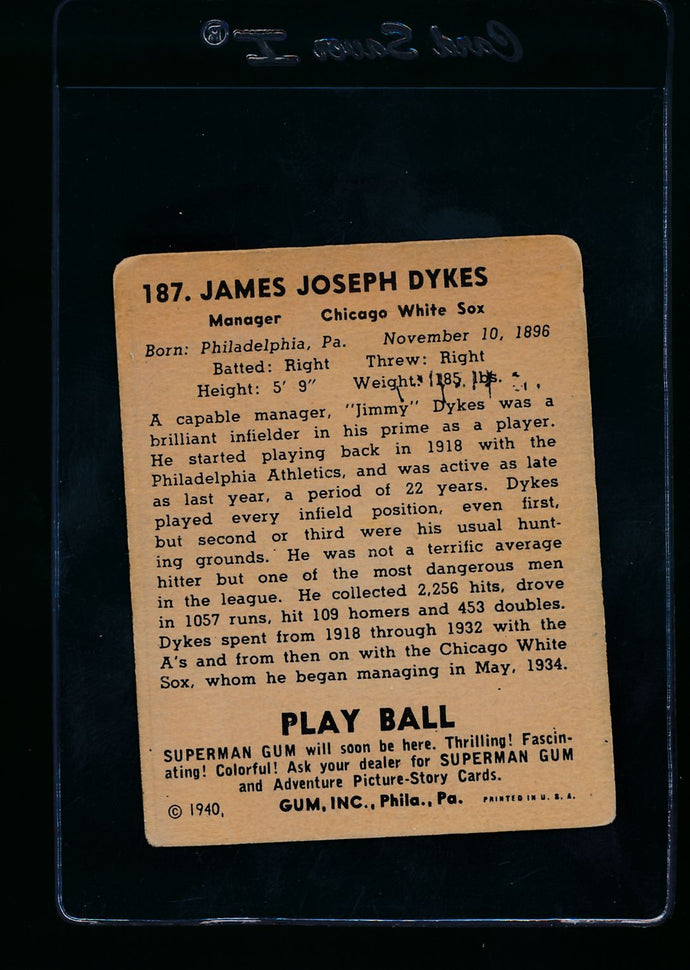 1940 Play Ball  187 Jimmy Dykes MG  VG (MK) 13650