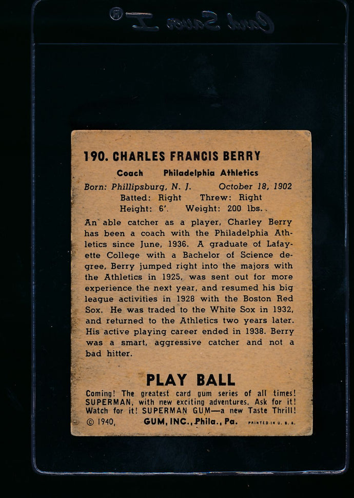 1940 Play Ball  190 Charley Berry  P 13653