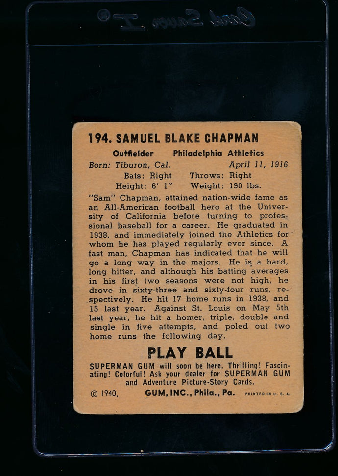 1940 Play Ball  194 Sam Chapman RC  G/VG 13656