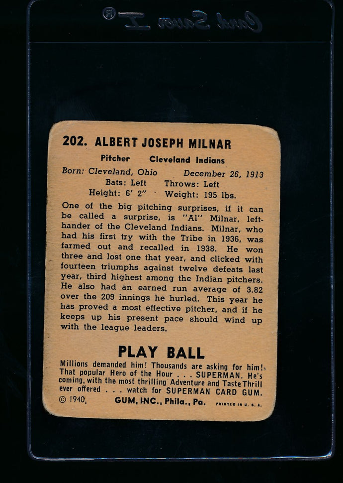 1940 Play Ball  202 Al Milnar RC  G 13663