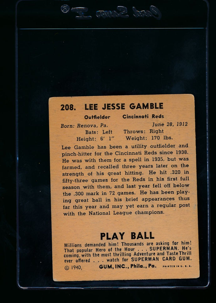 1940 Play Ball  208 Lee Gamble RC  VG 13669