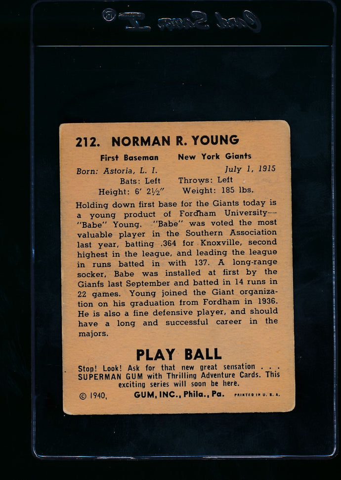 1940 Play Ball  212 Babe Young RC  VG 13673
