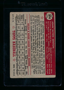 1952 Topps  374 Al Benton RC High # F 13718