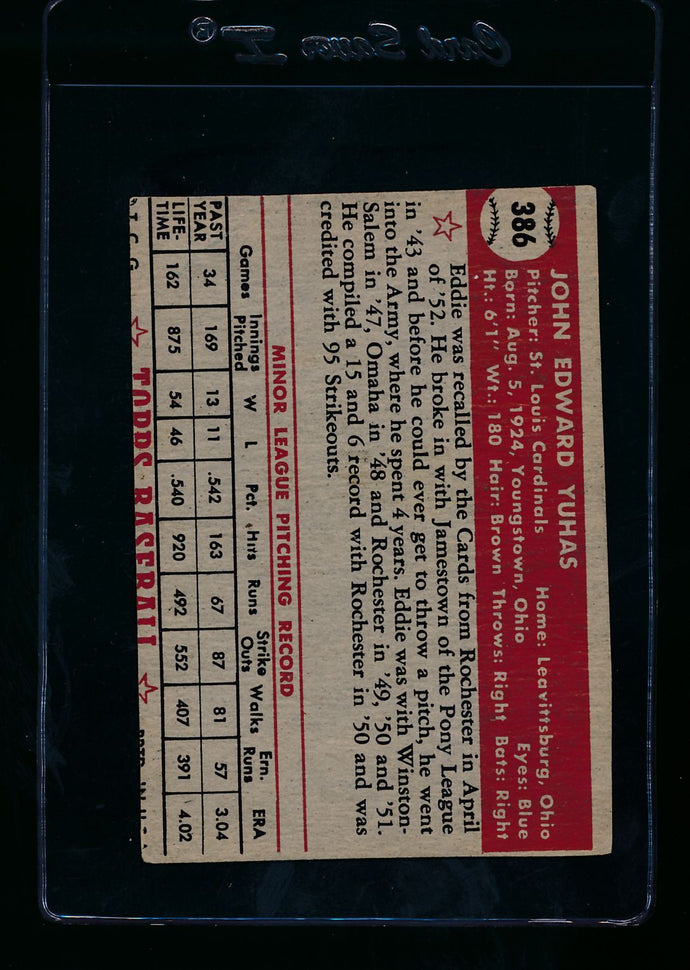 1952 Topps  386 Ed Yuhas RC High # P (trimmed) 13722