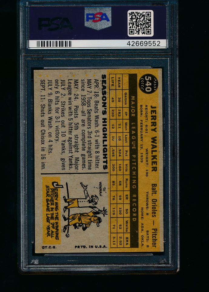1960 Topps  540 Jerry Walker  PSA 6 EX-MT 13774