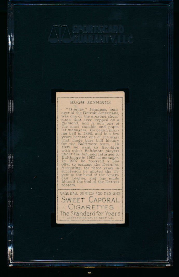 1911 t205 Gold Border   Hugh Jennings HOF SGC 5 EX 14079